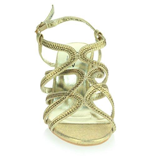 Femmes Dames Diamante Décoré Cage Sandales à Lanières Talon moyen Des Sandales Soir Fête Mariage Bal de Promo De Mariée Chaussures Taille Or