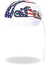 Authentic Bikers Premium Headwraps, AMERICAN BIKE WHITE - High Quality Micro-Fiber & Mesh Lining HEADWRAP