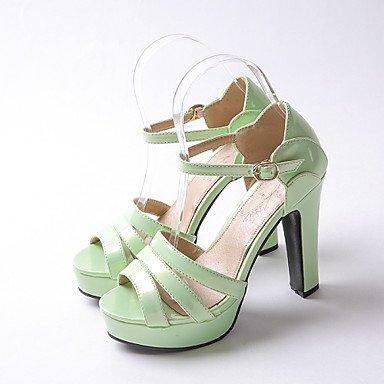 zhENfu Scarpe da donna in pelle di brevetto Chunky Heel Peep toe / Piattaforma sandali Wedding / Festa & SERA/ argento / Mandorla Green