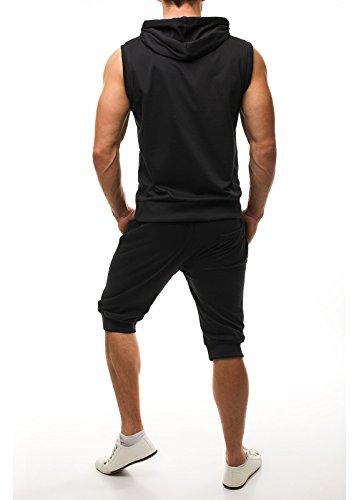 OZONEE Uomo Tuta da ginnastica tuta da ginnastica Pantaloni Jogging Jogger jogging pantaloni Canottiera Senza braccia Felpa Con Cappuccio JACK DAVIS 75 Nero