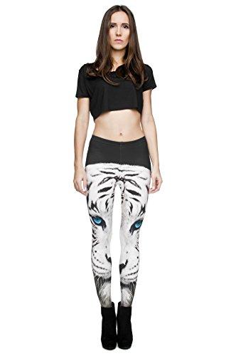 Filles Leggings pour femme Imprimé All Over pas voir à travers très élastique UK 8/10/12Entraînement Fitness Yoga de Course Gym Danse Pantalon pour femme Blanc/tigré