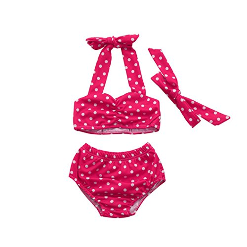 Baby Badeanzug, erthome Infant Baby Mädchen Kleidung Bademode Straps Badeanzug Bade Bikini Set Outfits (Pink, 12-24 Monate)