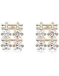 Gold Crystal Diamond Accent Chinese Style Double Happiness Fashion Earrings Made with Swarovski Crystal, with a Gift Box