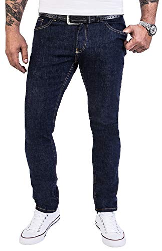 Rock Creek Herren Jeans Hose Regular Slim Stretch Jeans Herrenjeans Herrenhose Denim Stonewashed Basic Stretchhose Raw RC-2138 Dunkelblau W38 L30