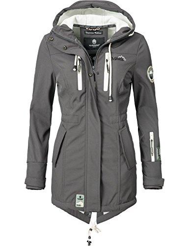 Marikoo Mountain Damen Softshell-Jacke Outdoorjacke Zimtzicke (vegan hergestellt) Dunkelgrau Gr. S