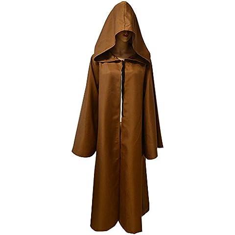Eizur Unisex Halloween Jedi Mantello Incappucciato Cappotto Star Wars Vestito Wicca Strega Robe Cape Medievale Scialle Con Cappuccio Masquerade Costume Cosplay Accessori Taglia XXL - Caffè