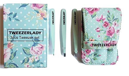 Tweezerlady 3 pcs Ensemble de pinces en Superbe Finition Floral