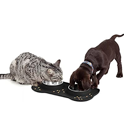 onarway Double Dog Bowls- Stainless Steel Pet Water & Food Feeder with Non-skid Anti-overflow Silicon Tray and Mat for Puppy, Dogs, Cats and Other Pets *Free Pet Food Scoop Shovel Tool(black)