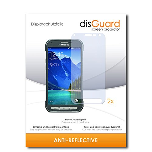disGuard® Bildschirmschutzfolie [Anti-Reflex] kompatibel mit Samsung Galaxy S6 Active [2 Stück] Entspiegelnd, Matt, Antireflektierend, Extrem Kratzfest, Anti-Fingerabdruck - Panzerglas Folie, Schutzfolie