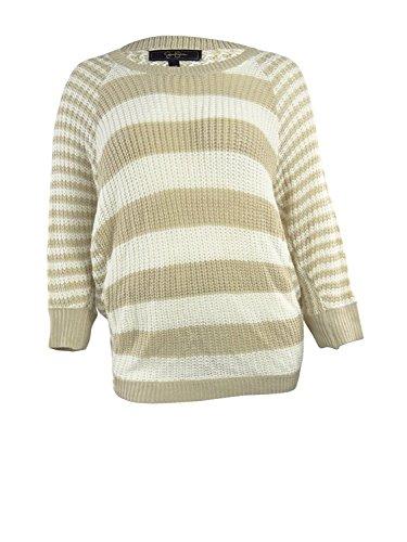 Fancy Jessica Simpson Jessica Simpson Women's Striped Knit Sweater (2X, Oxford Tan) (Knit Tan Sweater)