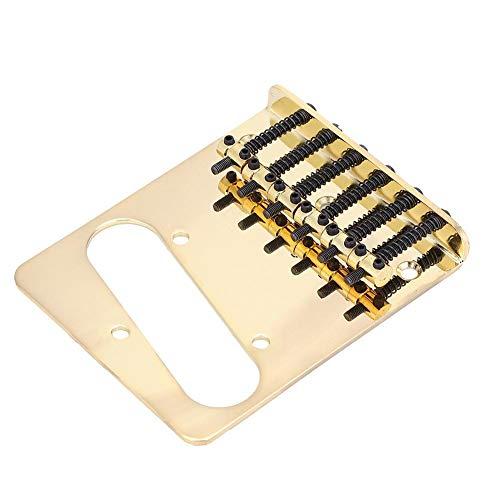 Fafeims Gitarrensteg, 6 Sattel Gitarrensteg Single Coil Pickup Slot mit 3 Schrauben 1 Schraubenschlüssel für TL Telecaster E-Gitarre.(Gold)