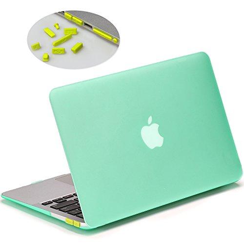 LENTION Funda rígida para MacBook Air (13 pulgadas, finales de 2010 - 2017), protector de plástico LENTION para el portátil Mac Book de Apple, funda de acabado mate y soportes de goma, viene con puertos anti-polvo para enchufar(Transparente Verde, Color de Enamorados)