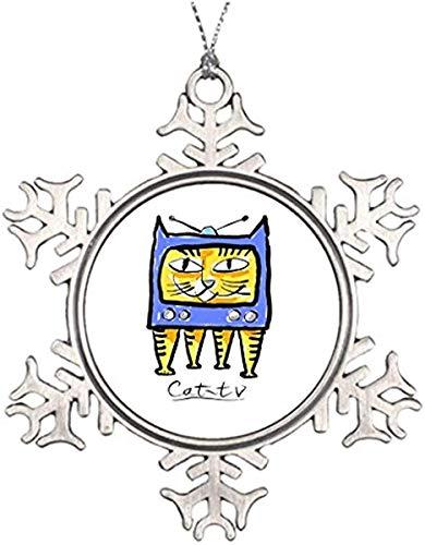 , Metal Snowflake Ornament, Tree Branch Decoration Cat TV Halloween Snowflake Ornaments Keepsake Gift ()