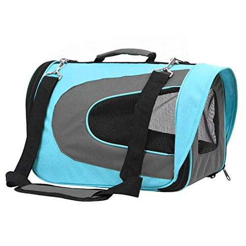 Moonlovey portable soft-sided pet travel carrier (compagnia aerea approvato), materiale ecologico spazioso con pile a letto blue