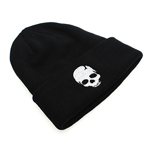 GGG Adjustable Winter Skull Style Hat Watch Cap Unisex Snapback Fitted Black Knit -Color:Black+White