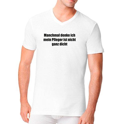 Fun Sprüche Männer V-Neck Shirt - Manchmal denke ich mein Pfleger by Im-Shirt Weiß