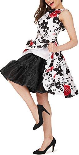 Black Butterfly 20 Rockabilly Petticoat 1950er-Jahre Komplett aus Satin-Organza Tellerrock Schwarz