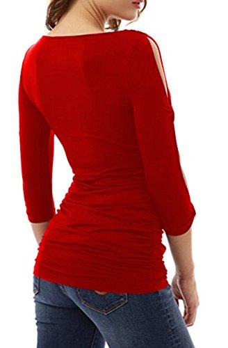 Damen Shirt Langarm V Ausschnitt Sommer Elegant Blouses Oberteil Blusenshirt Rot