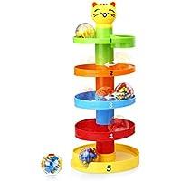 Giochi educativi Peradix, palline giocattolo a torre con 5 piatti e rampa a 3 palline per bambini, giochi rotanti Run with Cartoon Cat for Babies piatti