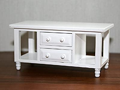 Dolls House Miniature 1:12th Scale Modern White Coffee Table produced by Wonham - quick delivery from UK.