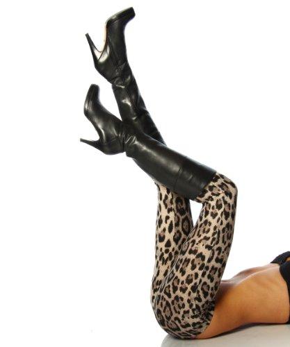 Preisvergleich Produktbild Heisse Leggings mit Leo Print braun schwarz L