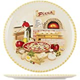 Home Assiette à Pizza, 34cm, Céramique, multicolore
