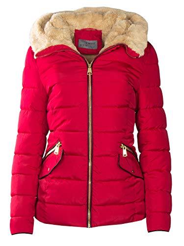 S\'West Damen Winter Steppjacke Stehkragen MIT Fell GEFÜTTERT KURZ Mantel TEDDYFELL, Farbe:Rot, Größe:XL