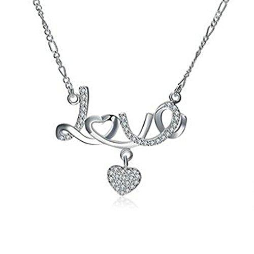 Aeici Schmuck Versilbert-Basis Anhänger Halskette für Frauen Herzform Halskette Silber Dimension: 3.4X4.9CM - Eule Gold Kette Origami