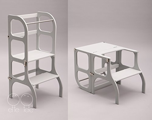 Descapotable Torre de Aprendizaje/Mesa Step'n Sit, all-in-one, Montessori learning tower - GRIS/SILVER clasps