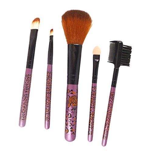 Set 5pcs Pinceaux de Maquillage pour Fard à Joues Sourcils Lèvres Fard à Paupières