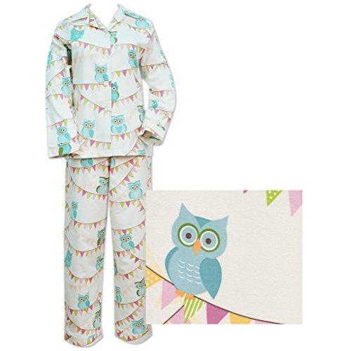 Der Katze Schlafanzüge Elfenbeinfarben Eulen auf einem Line Damen Flanell Pyjama Gr. Large, elfenbeinfarben (Flanell Lg)