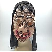 gfdff Máscara de Halloween Terror Bruja Accesorios de Película Bruja Látex Látex Negro ...