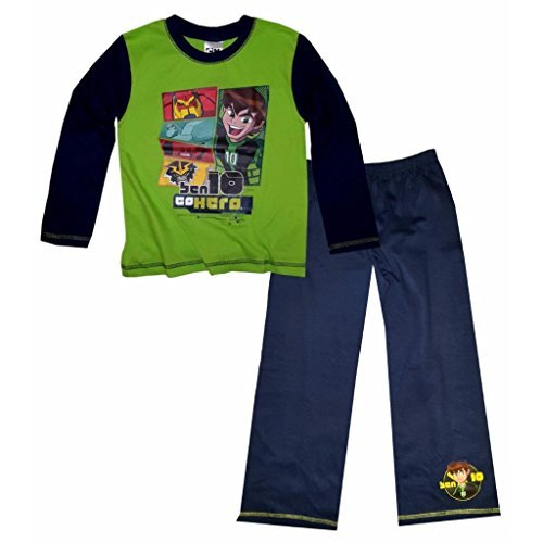 Image of Ben 10 Childrens Boys Long Sleeve Top And Bottoms Pyjama Set (4-5 Years) (Lime/Navy)