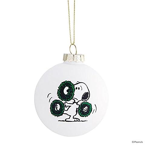 BUTLERS PEANUTS Glaskugel Snoopy/Kränze- Christbaumkugel - 8 cm (Snoopy Charlie Brown Christmas)