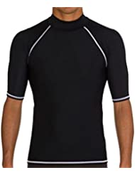 Linyuan Men's Sun Protection Swimsuit Short Sleeve Surfing Diving Swimwear Suits