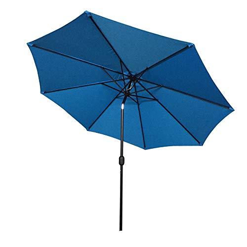AUFUN Sonnenschirm neigbar 300cm mit kurbel UV Schutz 40+ - Blau Alu Balkon Terrassenschirm Marktschirm Gartenschirm (Blau)