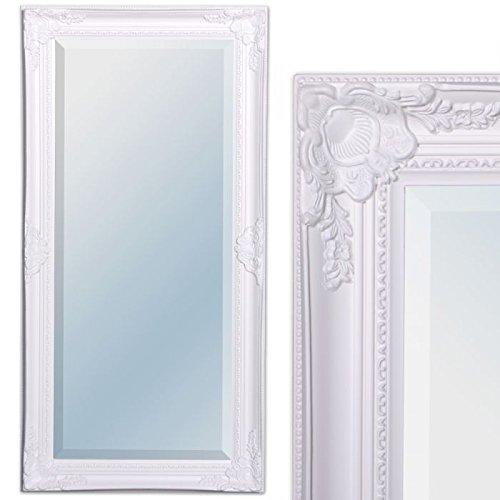 LEBENSwohnART Wandspiegel LEANDOS 100x50cm pur weiß barock Design Spiegel pompös Facette