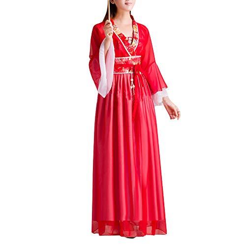 uirend Damen Chinesischen Stil Kostüm - Antike Retro Hanfu Robe Traditionell Tang Fee Mädchen Tanz Chiffon Anzug Kleid Cosplay Vorstellungen Kostüm (Chinesische Antike Kostüm)