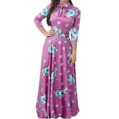 iHAZA Femme Grande Taille Mode Impression Cravate à Manches Longue Fête Long Maxi Cocktail Robe