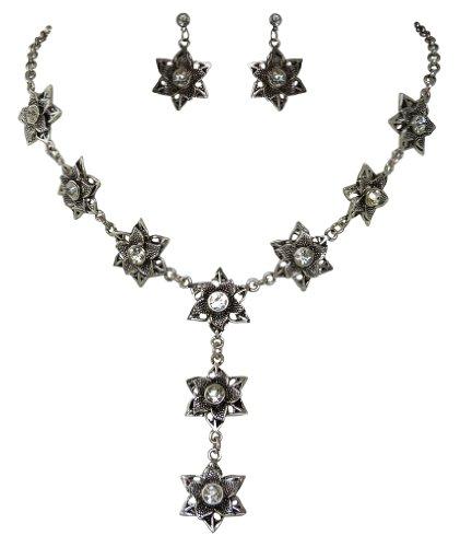 Kristall Blüten Y- Colllier Set klassisch – Kette & Ohrstecker – Strasskristalle –...