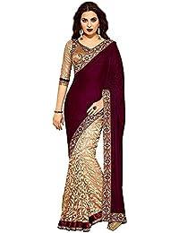 Harikrishnavilla Women's Velvet & Net Saree With Blouse Piece (520-_Maroon)