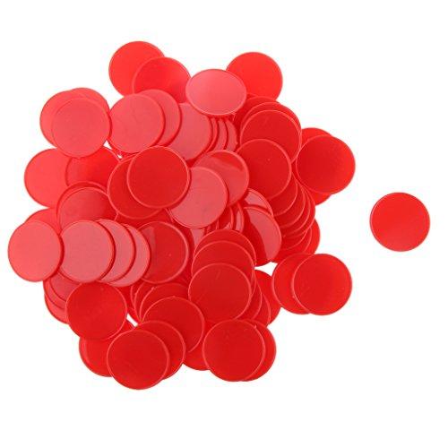 100pcs 32mm Chips Poker Jetons Casino Jeu De Société Pièces de Bricolage Craft - Rouge, XL