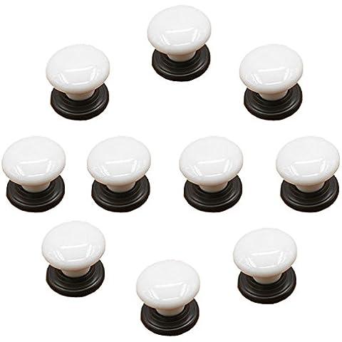 fbshop (TM) conjunto de 10Color blanco porcelana cerámica pomos cocina asas Pull Zinc cerámica puerta armarios armario de cocina armario aparador tirador de puerta Hardware