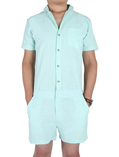 Mens Romper Overall Playsuit,Chicolife Pantaloni casuali corti pantaloni corti pantaloni manica corta pantaloni maniche corti pantaloni corti fidanzato blu Fresh Green