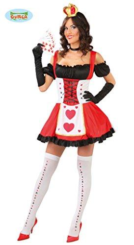 Sexy Königin der Herzen Damen Kostüm Damenkostüm Karte Spielkarte Herz Dame Spielkartenkostüm Gr. S/M, ()