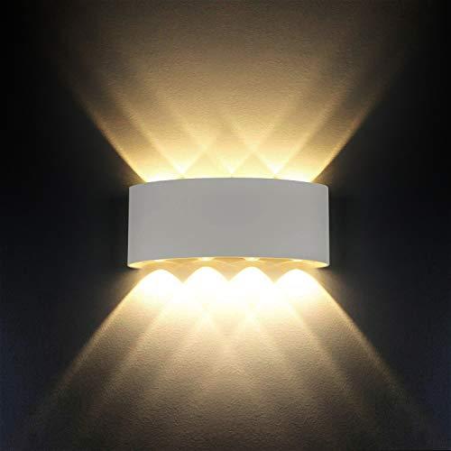 Lampada da parete, ip65 impermeabile moderno 8 w led lampada da parete applique interni decorativa per soggiorno, camera da letto, corridoio, scale, percorso (bianco caldo, guscio bianco)