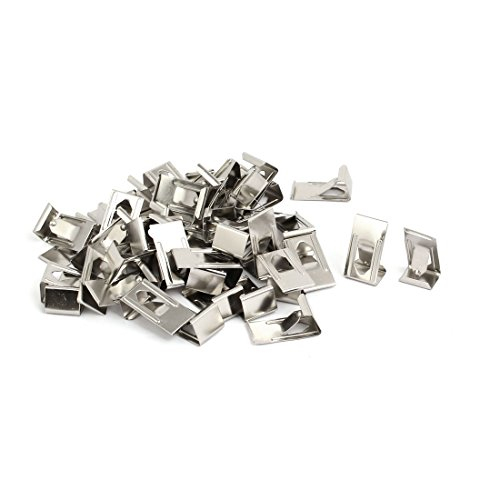 sourcingmap 50 Stück 26mmx14mm Bild Foto Rahmen Metallfeder Drehen Clip Aufhänger Silber (14x14 Bulletin Board)
