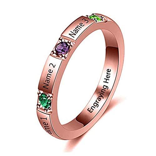 hjsadgasd Sterling Silber personalisierte Ring 3 Birthstones & 3 Name Custom Gravur Schmuck für Frauen Unendlichkeit Versprechen Ring für ihren Namen Ring