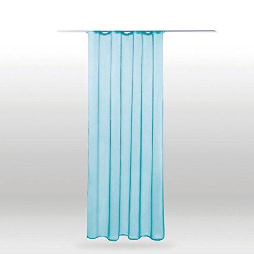 Transparenter Dekoschal Voile mit Universalband b 140x l 245 cm, elegantes und stilvolles Wohnaccessoire in vielen verschiedenen Farben erhältlich (türkis - aqua)