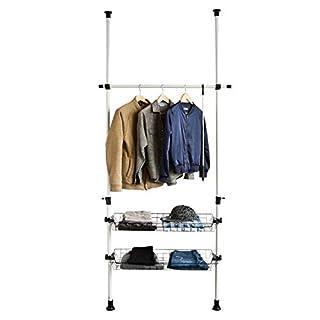 SoBuy® FRG107, Telescopic Wardrobe Organiser, Hanging Rail, Clothes Rack, Height Adjustable Storage Shelving